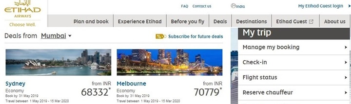 Etihad Airways coupon code and offers