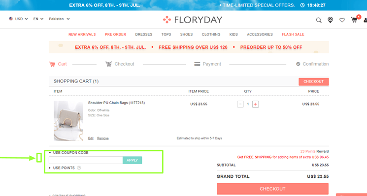 how to use floryday coupon code