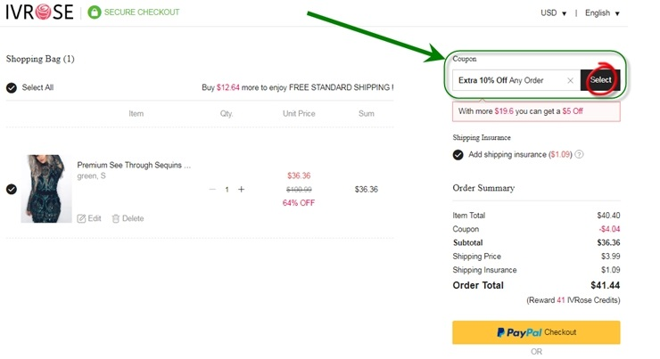 how to apply ivrose coupon code