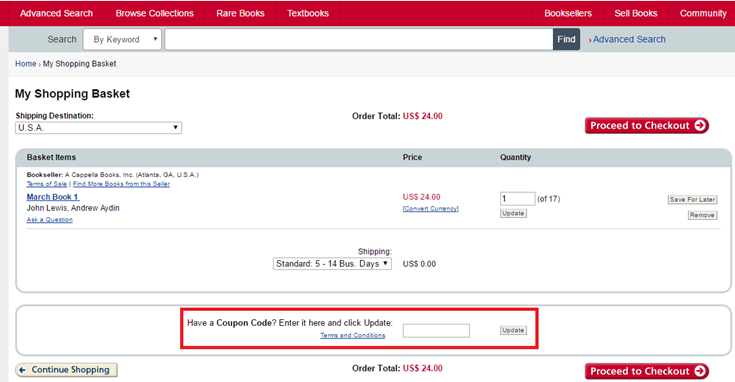 how to use abebooks coupon code