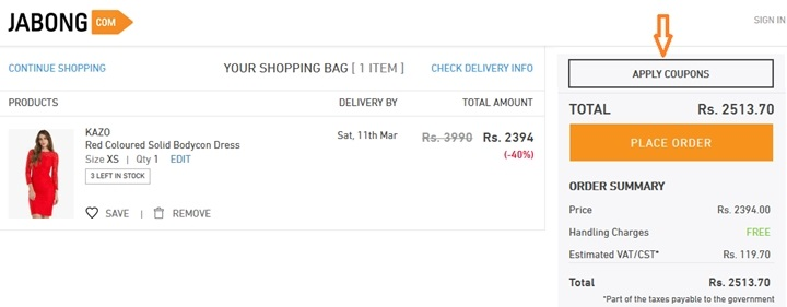 how to use jabong coupon code