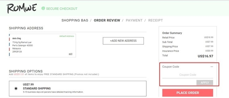 how to use romwe coupon code