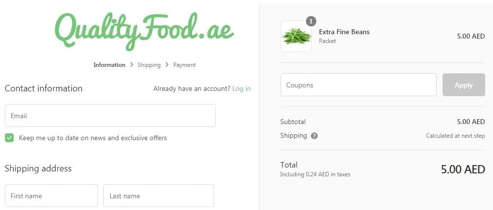 Apply quality food coupon code